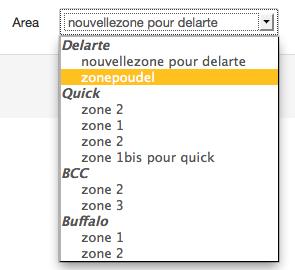 Select de zones classé par restaurant